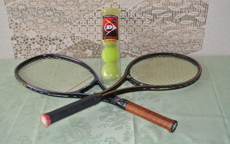 Tennis racket 300 yen Ball 100 yen